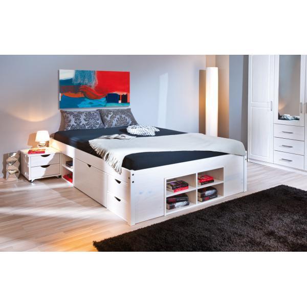 lit en bois avec espaces de rangement mobiles blanc 140x190 kolo lit 140x190