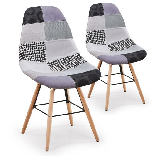 lot de 2 chaises scandinaves patchwork gris ovide 3s x home