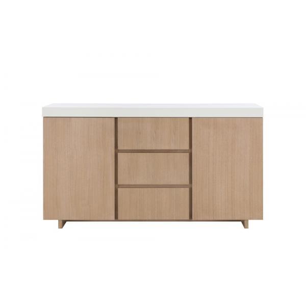 buffet bois blanc 2 portes 3 tiroirs frayn plus de details