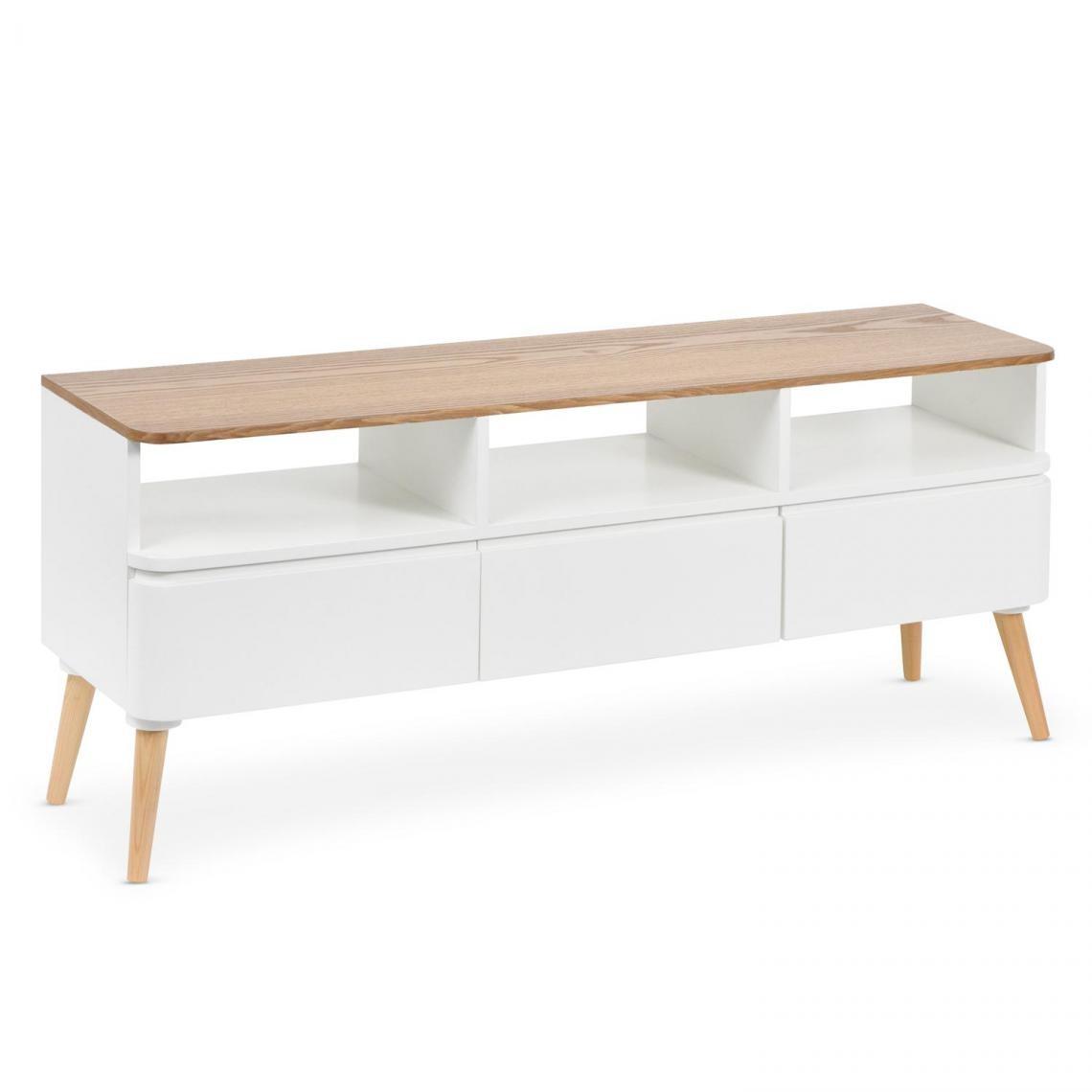 meuble tv scandinave bois blanc