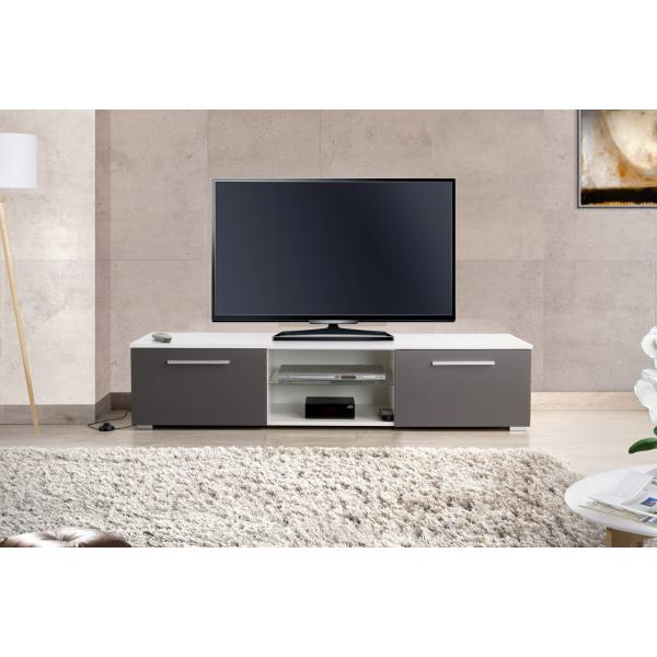 meuble tv led integree blanc gris salta