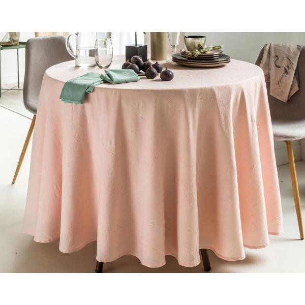 Nappe Ovale Polyester Froisse Rose Clair 3 Suisses