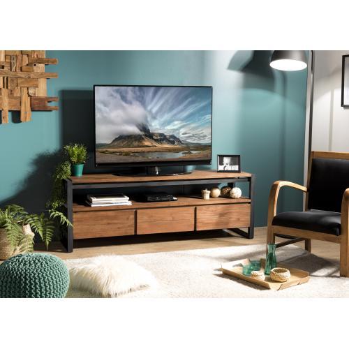 macabane meuble tv sixtine 3 tiroirs et 1 etagere bois teck recycle et metal
