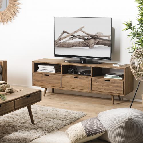 macabane meuble tv andy scandi bois 3 tiroirs 3 niches sapin