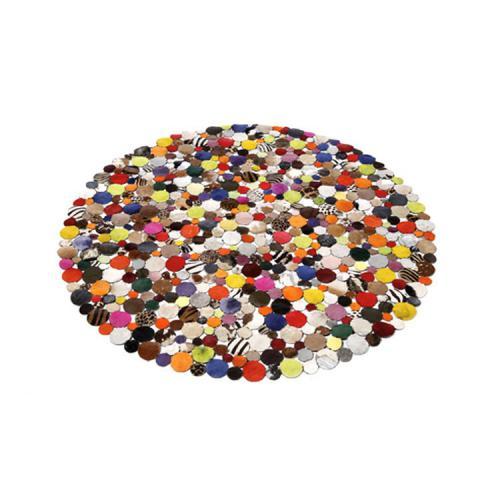 kare design tapis rond en cuir multicolore 150x150