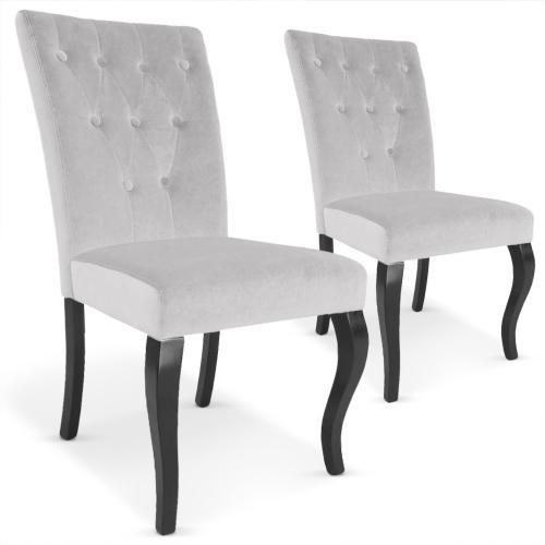 lot de 2 chaises capitonnees velours gris baroque rockstar 3s x home