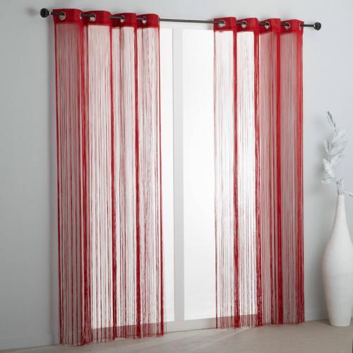 3s x collection nos imprimes rideau fils a oeillets rouge