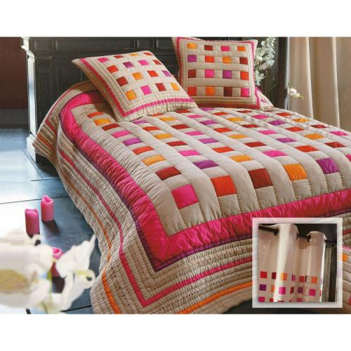 becquet paire de rideaux imprime colore multicolore