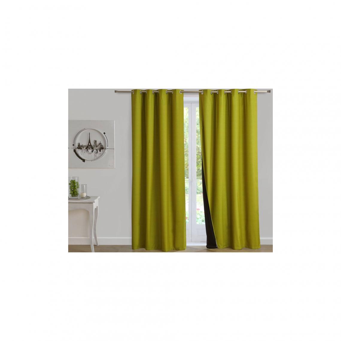 rideaux occultant a illets 4 saisons 2 en 1 vert kiwi