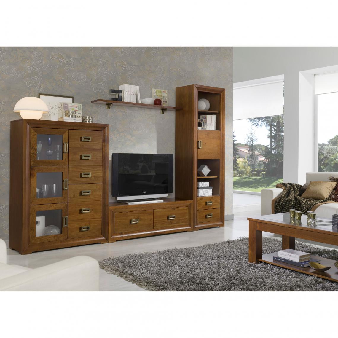 meuble tv 2 tiroirs verona teinte cerisier 3 suisses mobilier deco