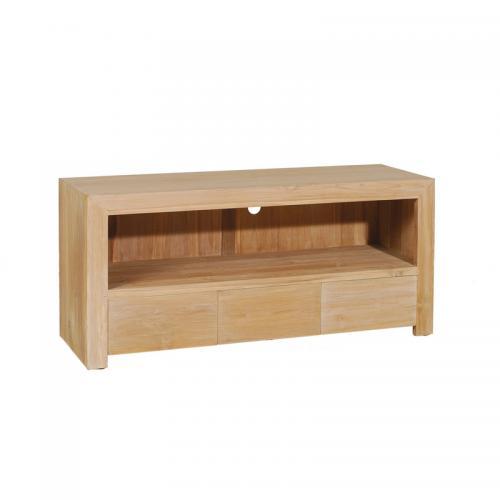 macabane meuble tv 1 niche 3 tiroirs en teck blanchi