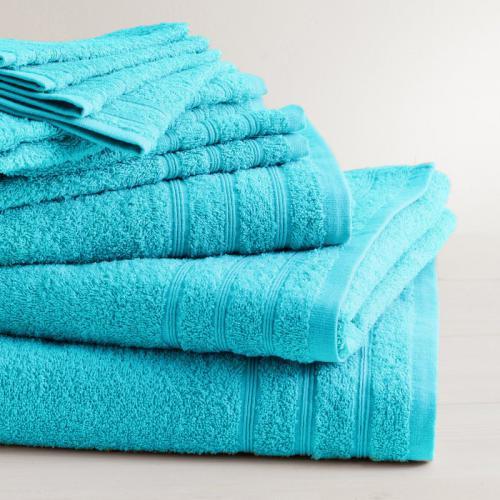 lot de 2 serviettes invite coton 420 gm tertio turquoise 3s x tertio nos unis