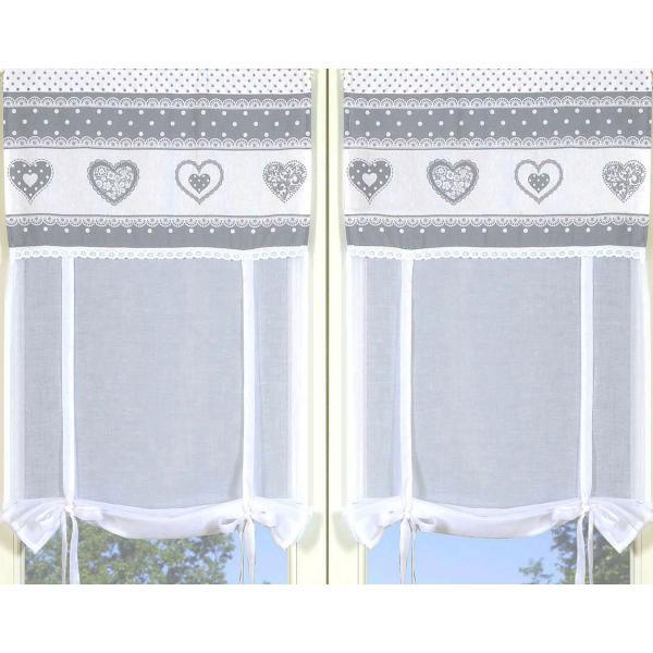 paire de rideaux coeurs gris