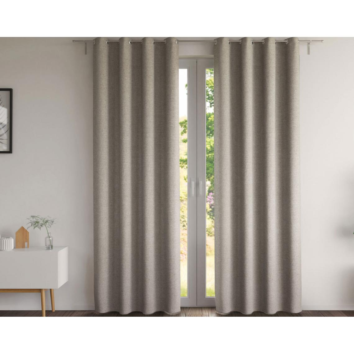 rideau natte chambray taupe