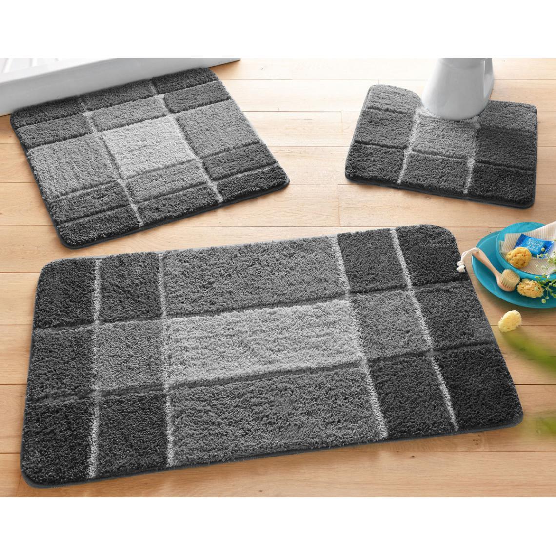 tapis de bain motifs geometriques gris