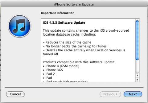 Rilasciato iOS 4.3.3: Aggiornamento che corregge il bug del tracciamento involontario da involontario da parte della Apple