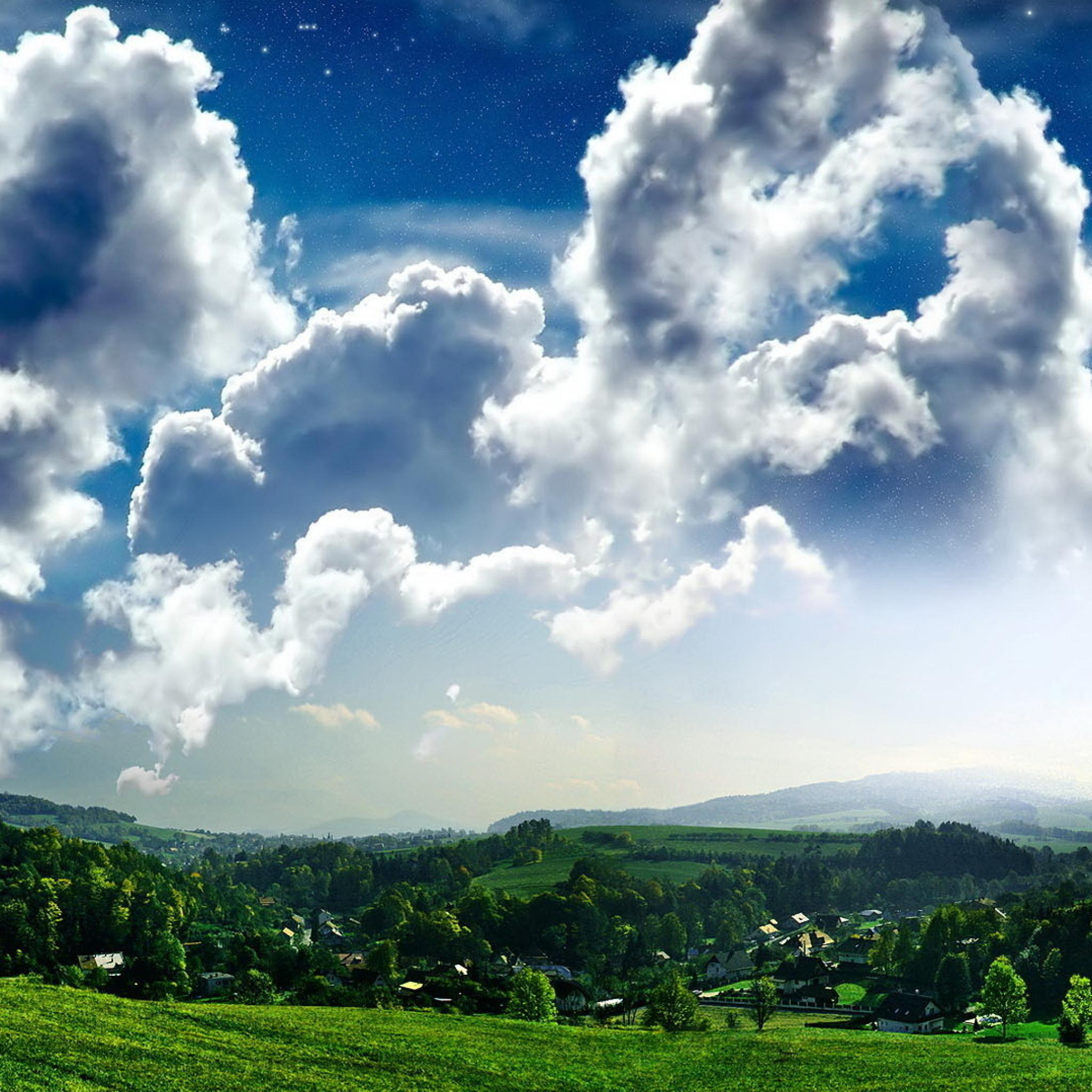 Cloud Hill Forest Sky Nature 3Wallpapers iPad Retina Cloud Hill Forest Sky Nature   iPad Retina