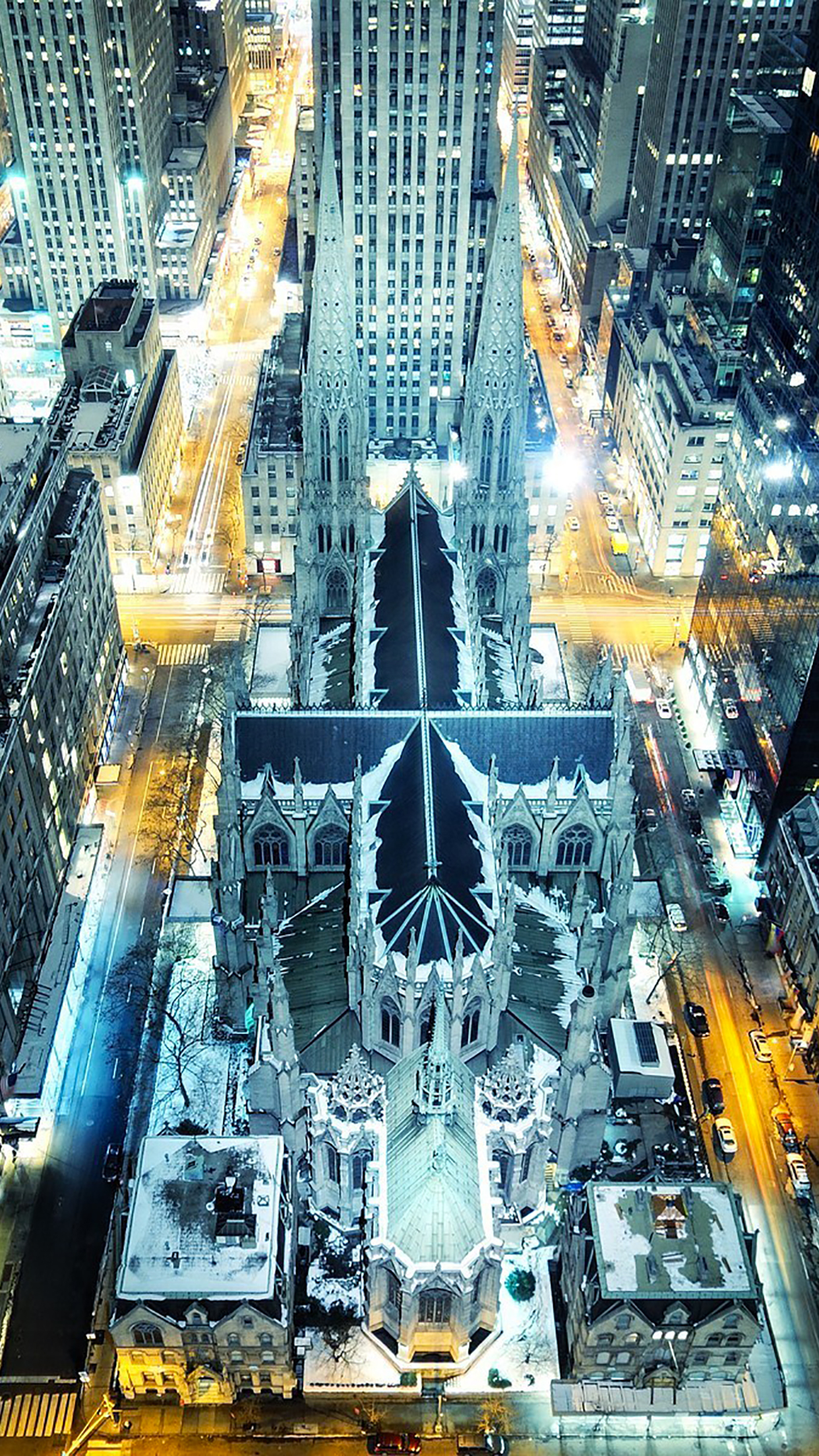 Saint Patrick Cathedral by night iPhone 3Wallpapers Parallax Saint Patrick Cathedral