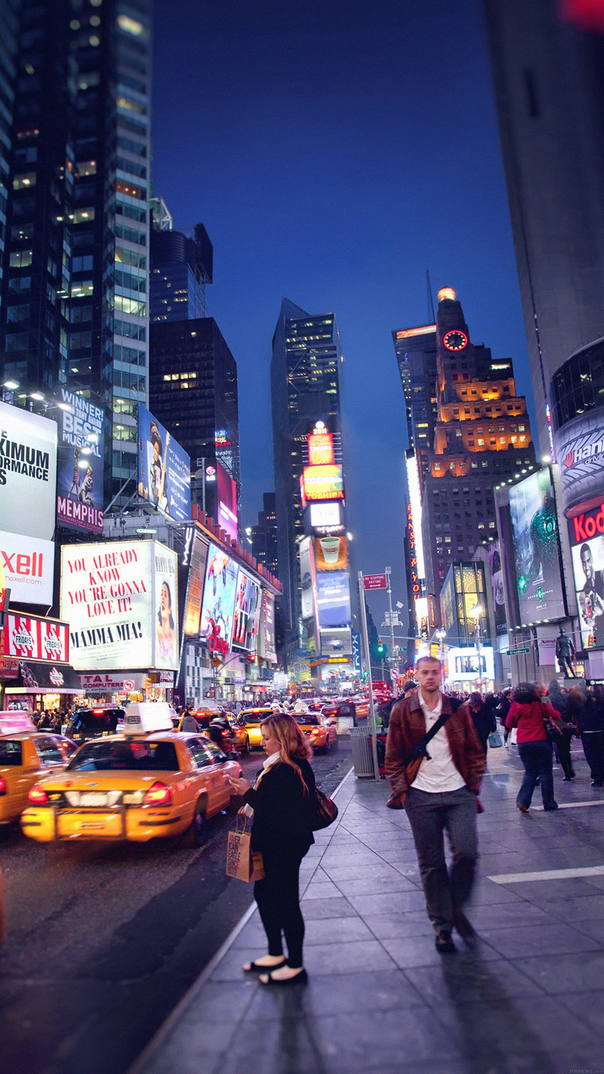 new york time square 3Wallpapers iPhone Parallax New York Time Square