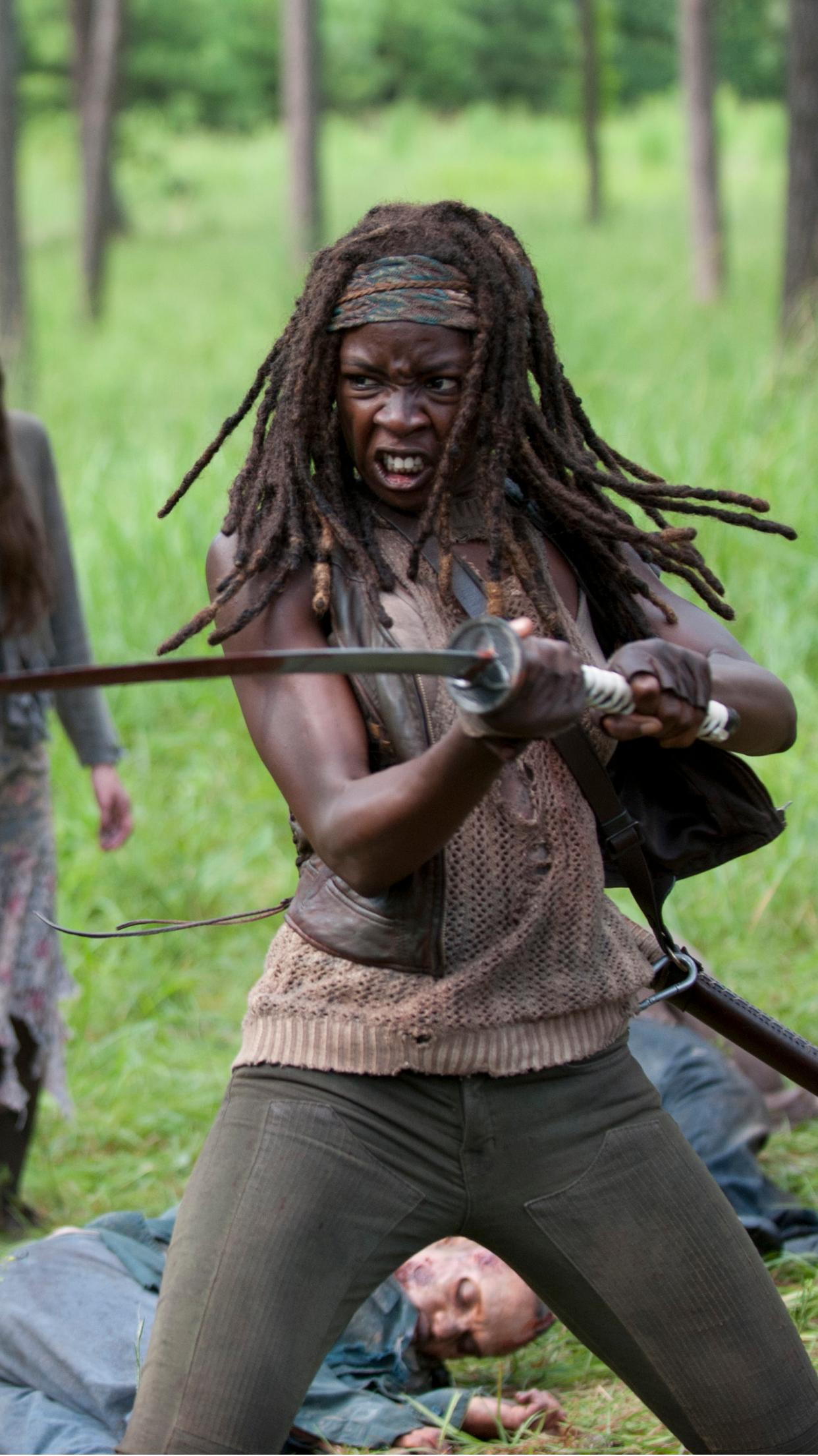 walking dead michonne 3Wallpapers iPhone Parallax Walking Dead Michonne
