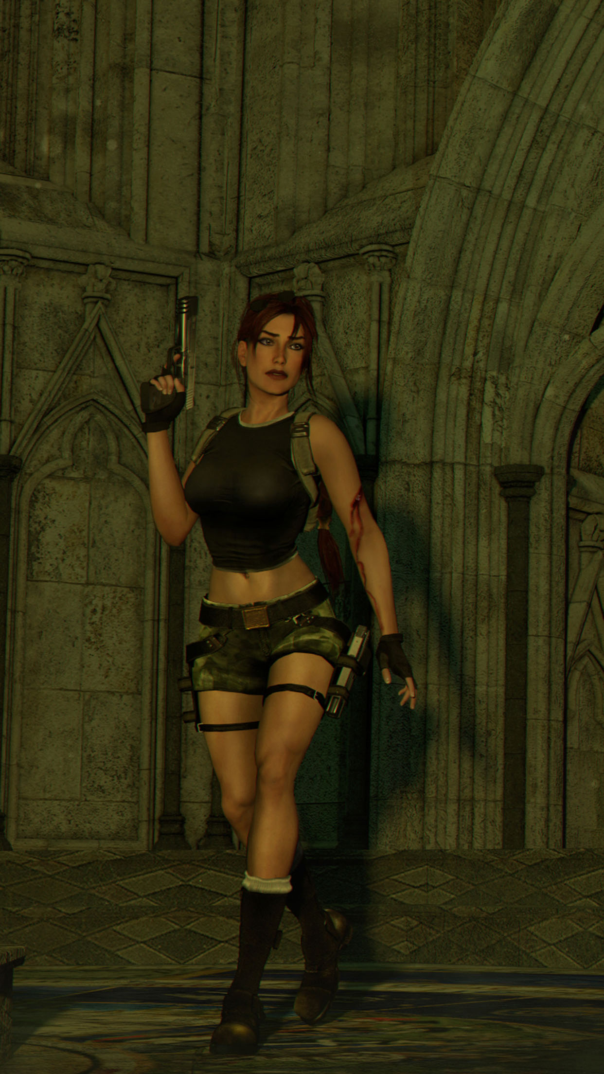 Tomb Raider Lara Croft Gun 3Wallpapers iPhone Parallax Lara Croft gun