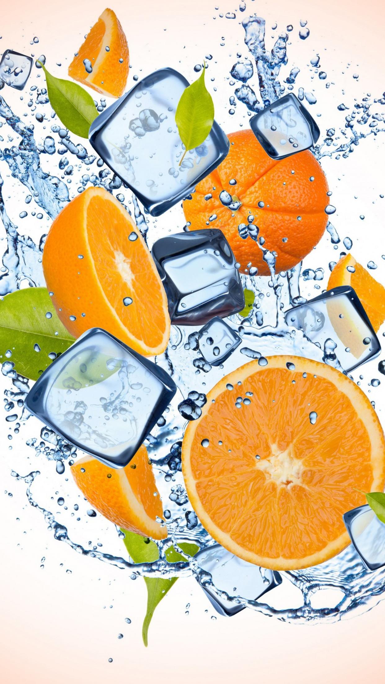 Orange Ice 1 3Wallpapers iPhone Parallax Orange : Ice 1