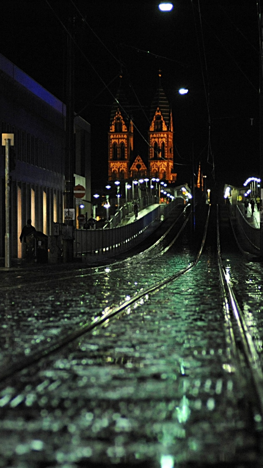 city night railways bridges buildings Night City