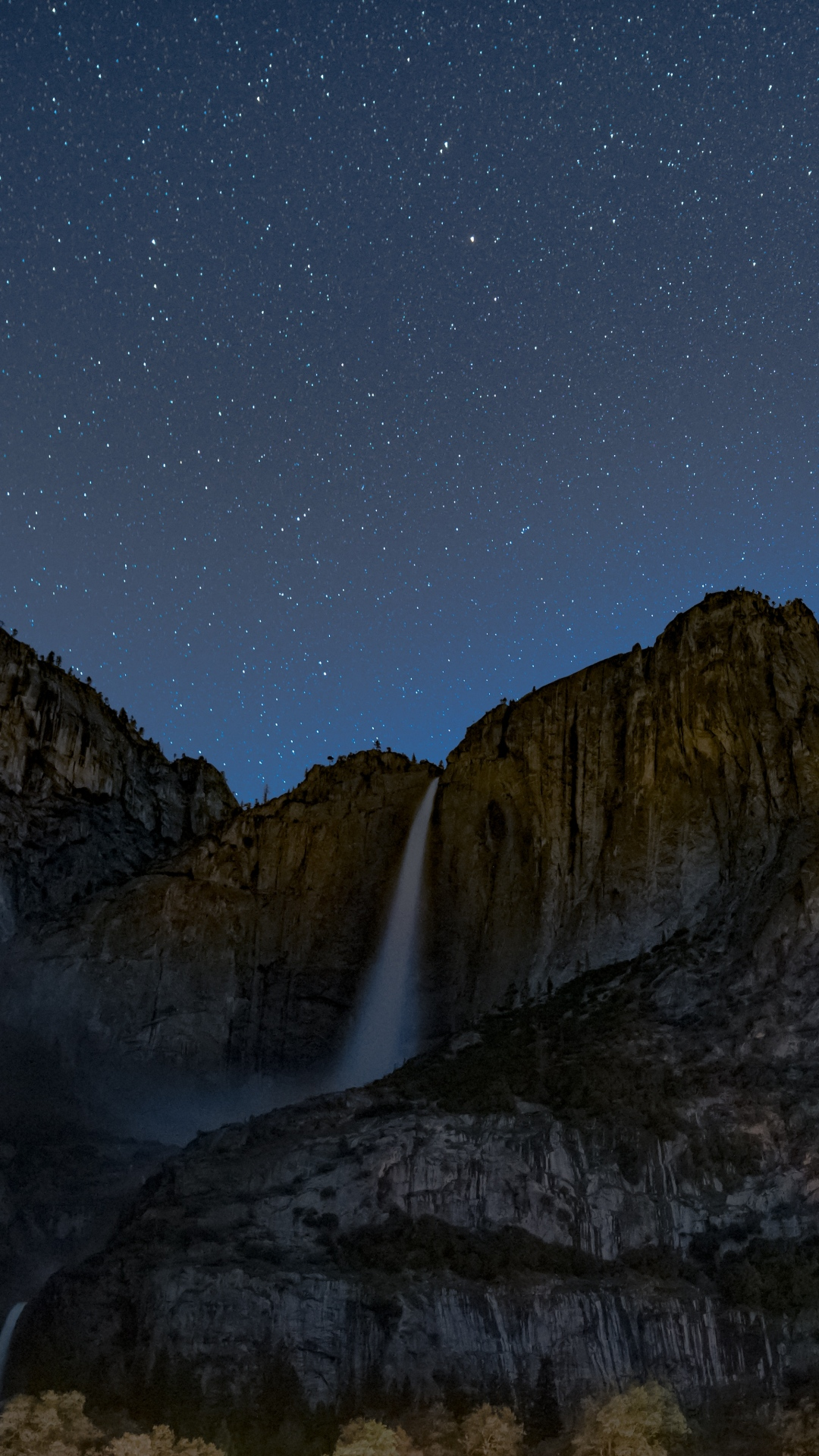 iphone wallpaper starry sky precipice waterfall Nature