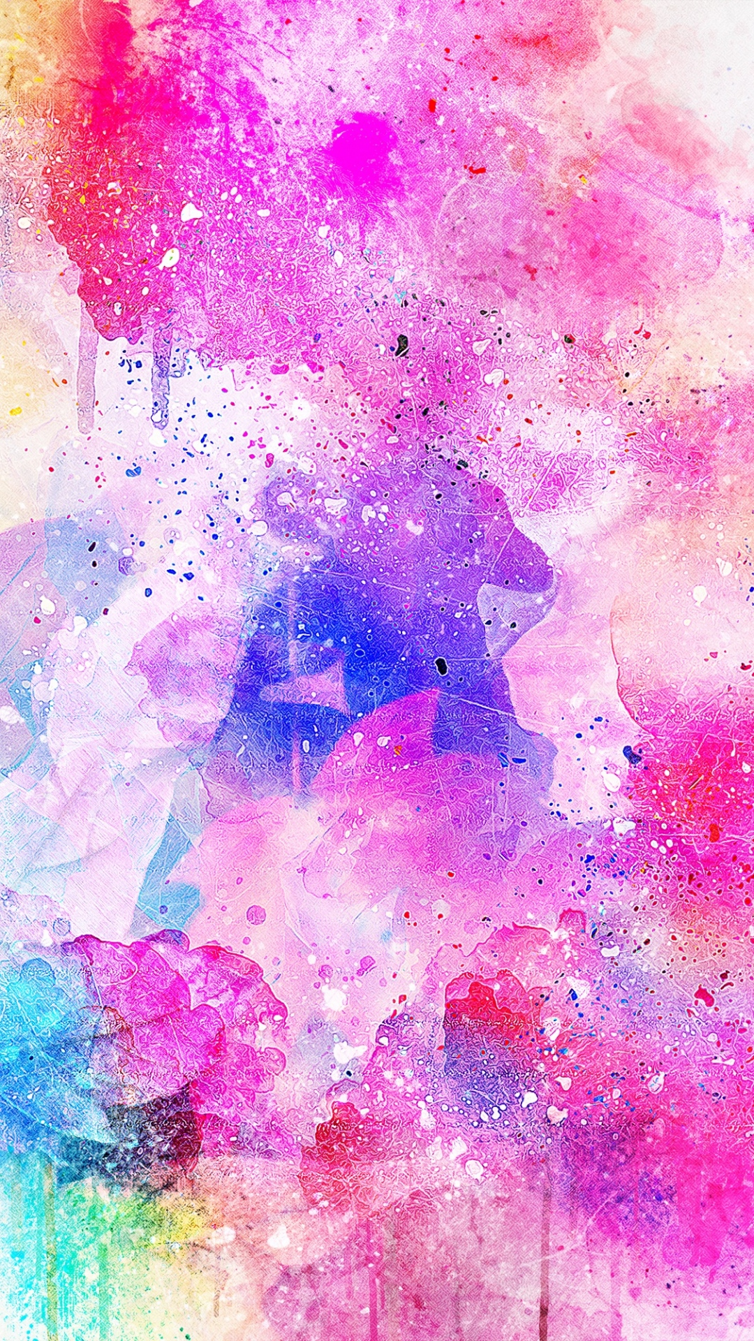 iphone wallpaper watercolor spots bright pink Watercolor