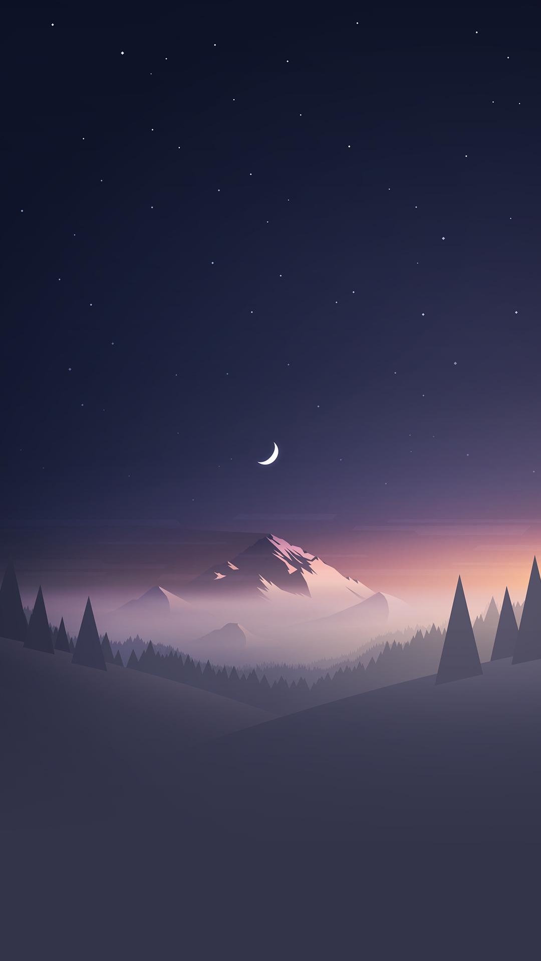iPhone Wallpaper Horizon Moon Illustration