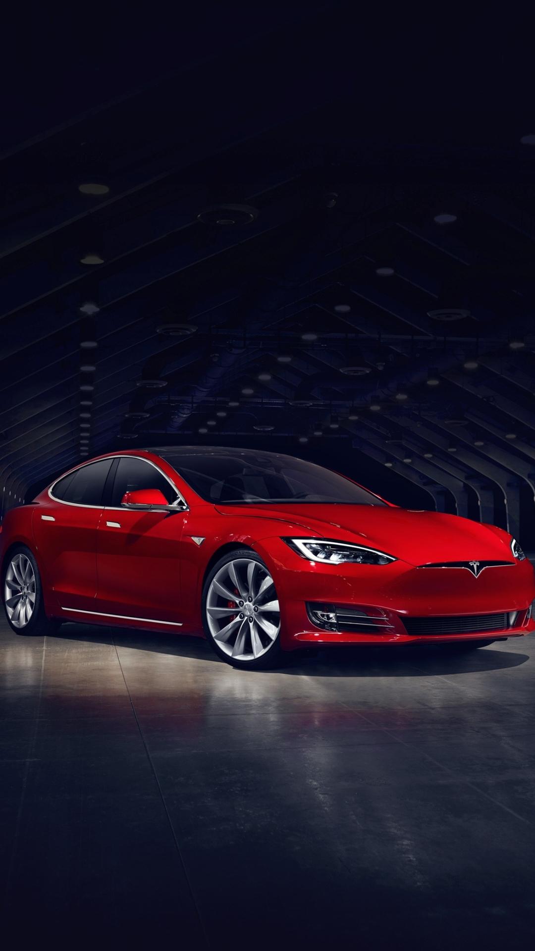 iPhone wallpaper Red Tesla Model S Tesla