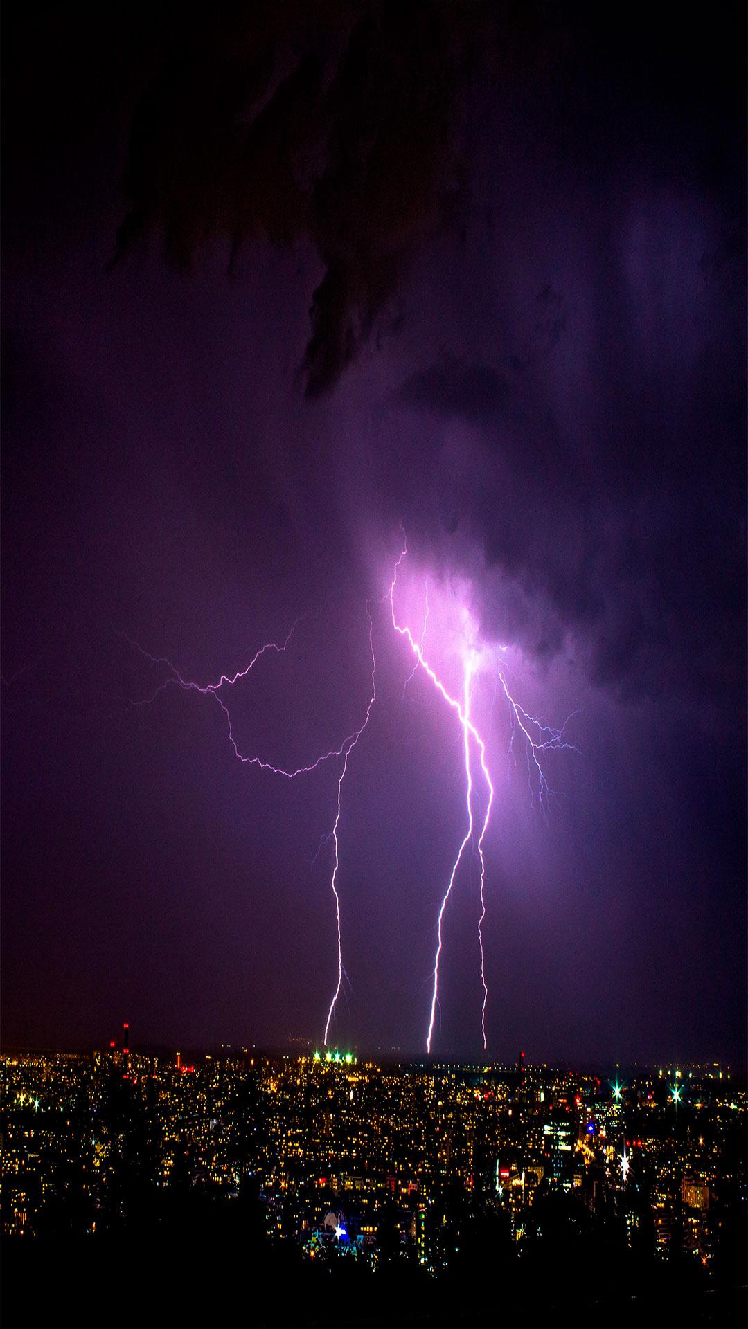 iPhone wallpaper lightning city Lightning