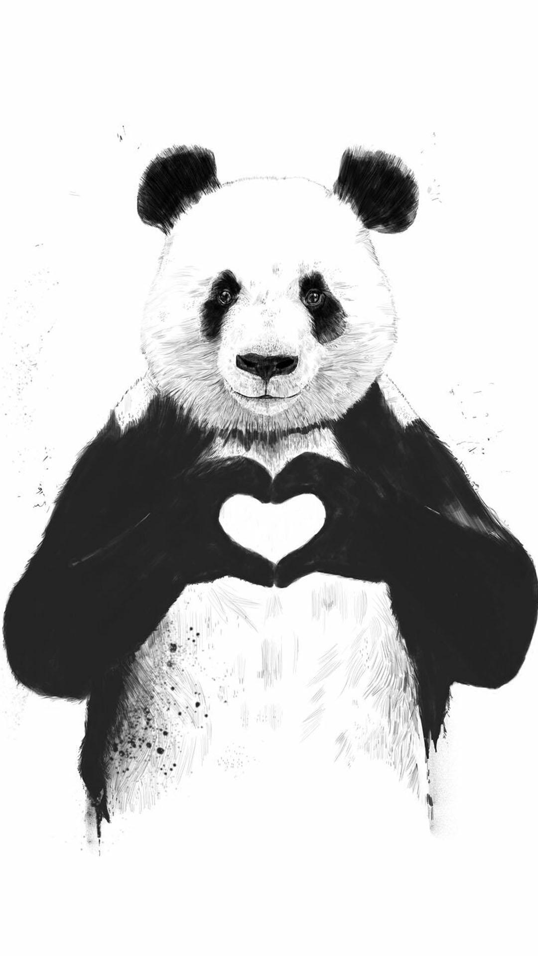 iPhone wallpaper panda heart Panda