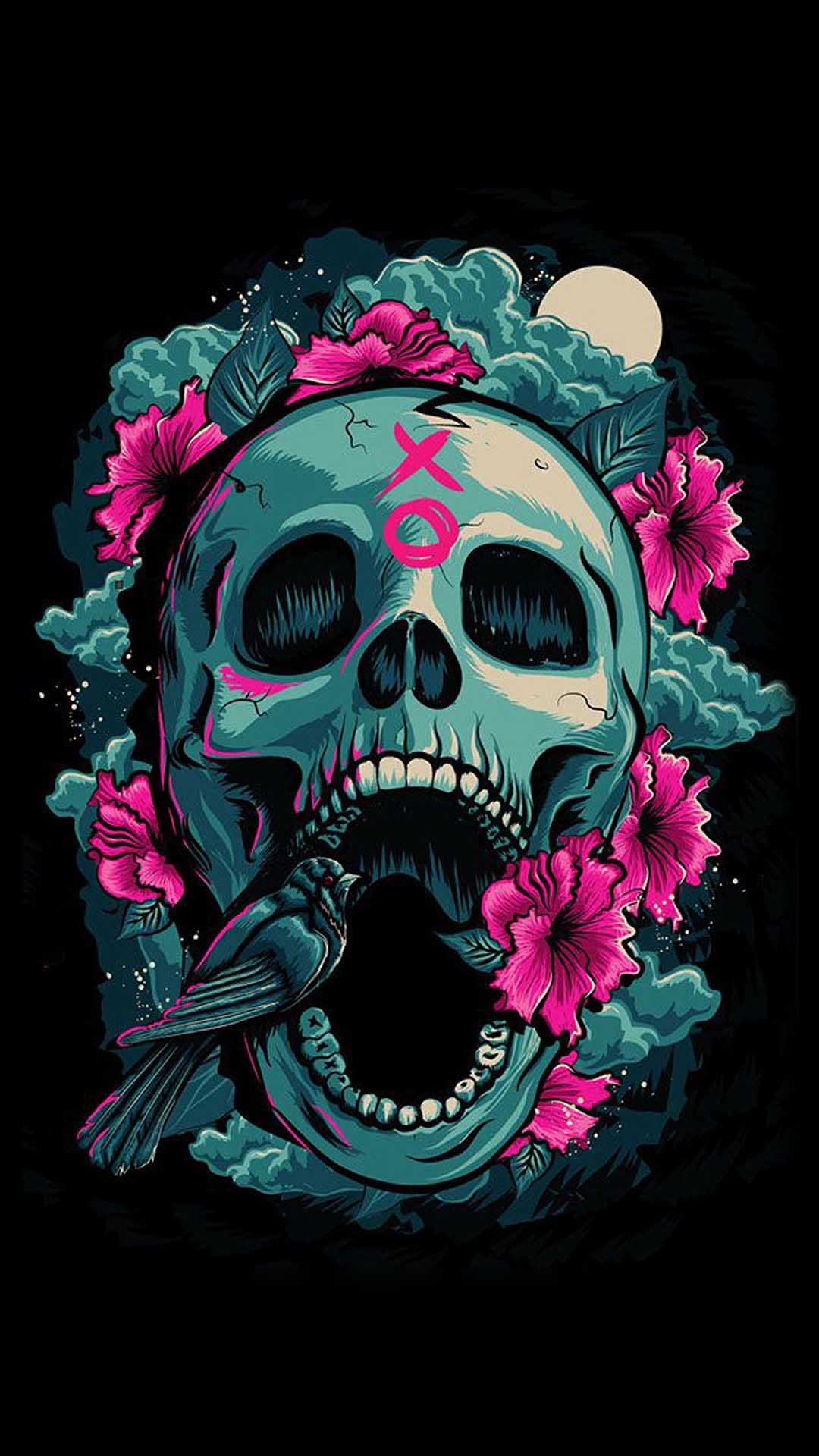 iPhone wallpaper skull flowers Skull