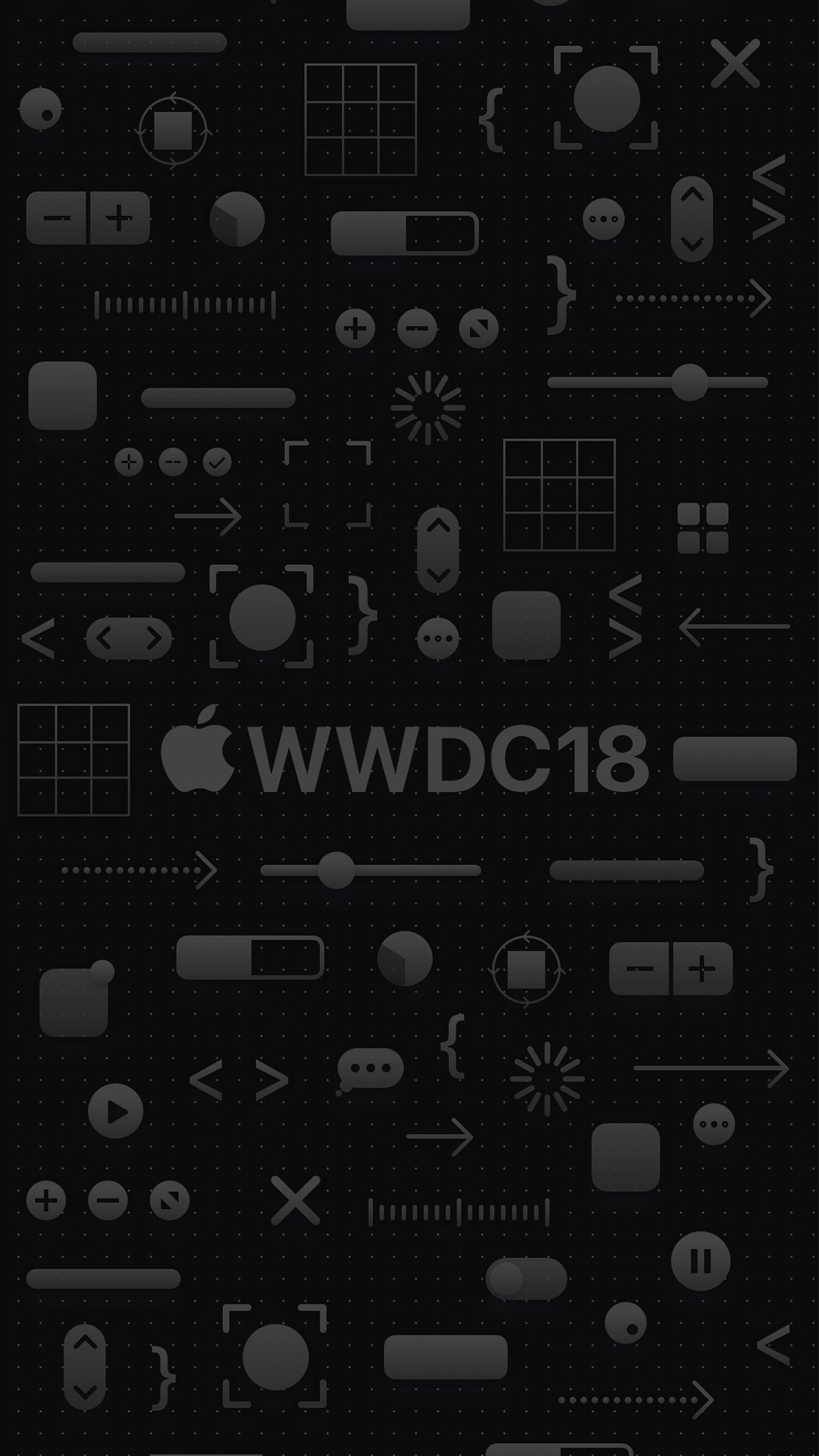 iPhone wallpaper wwdc icons black WWDC18