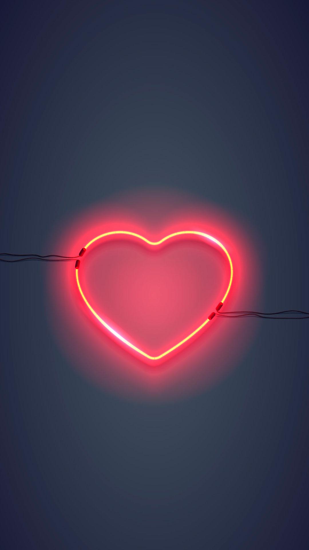 iPhone wallpaper neon sign heart Neon Sign