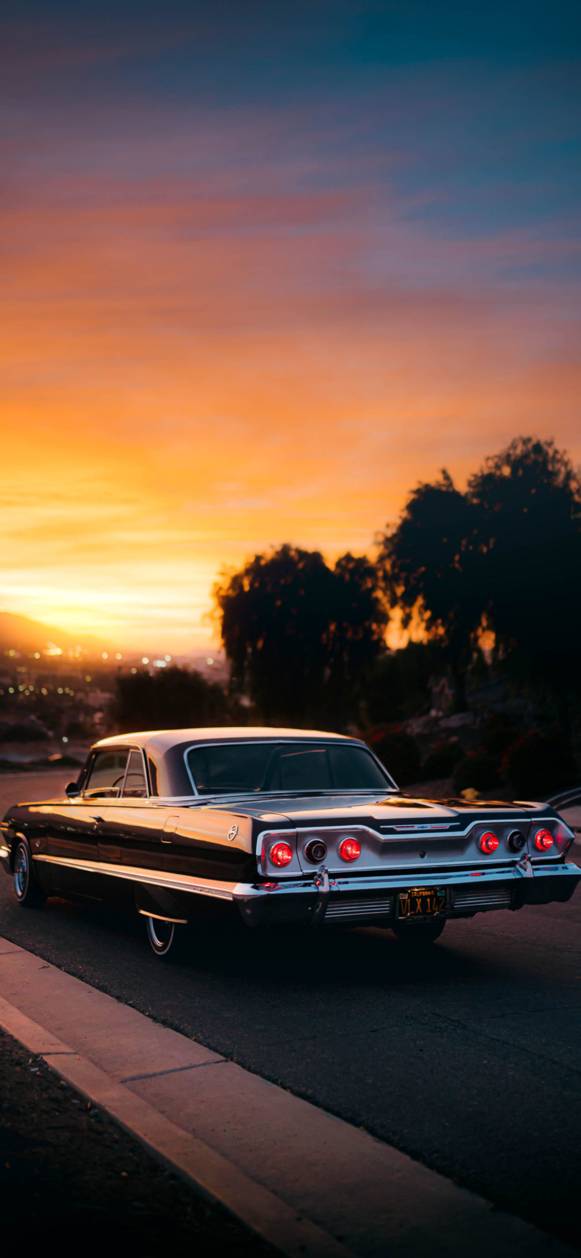 iPhone wallpapers car classic sunset scaled Car