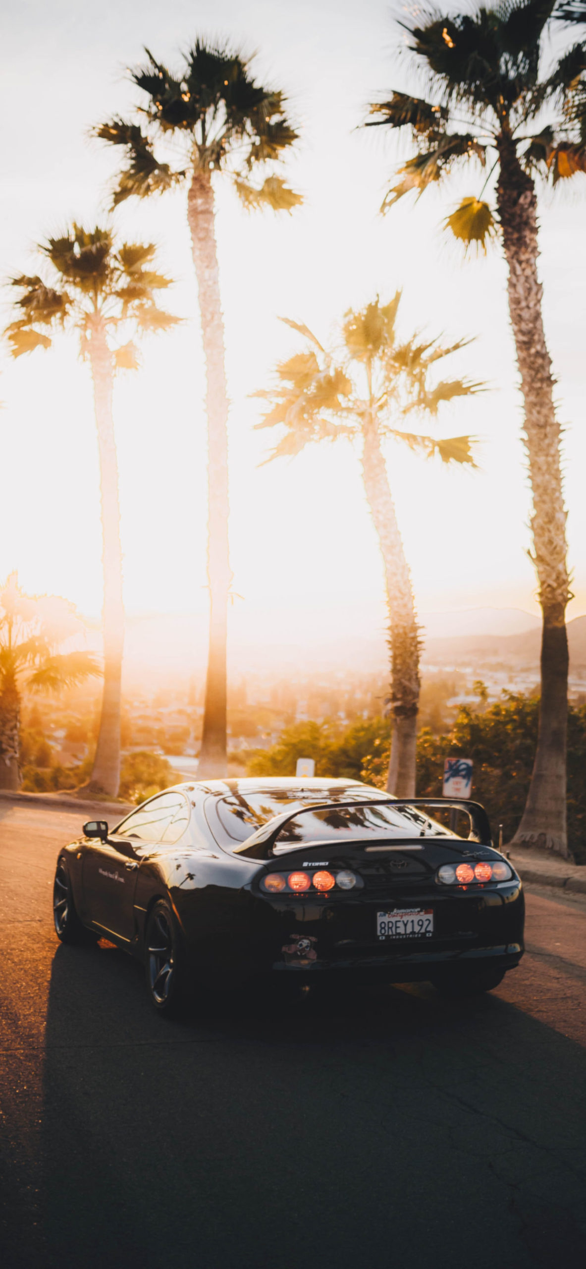 iPhone wallpapers car palms sunset scaled Car