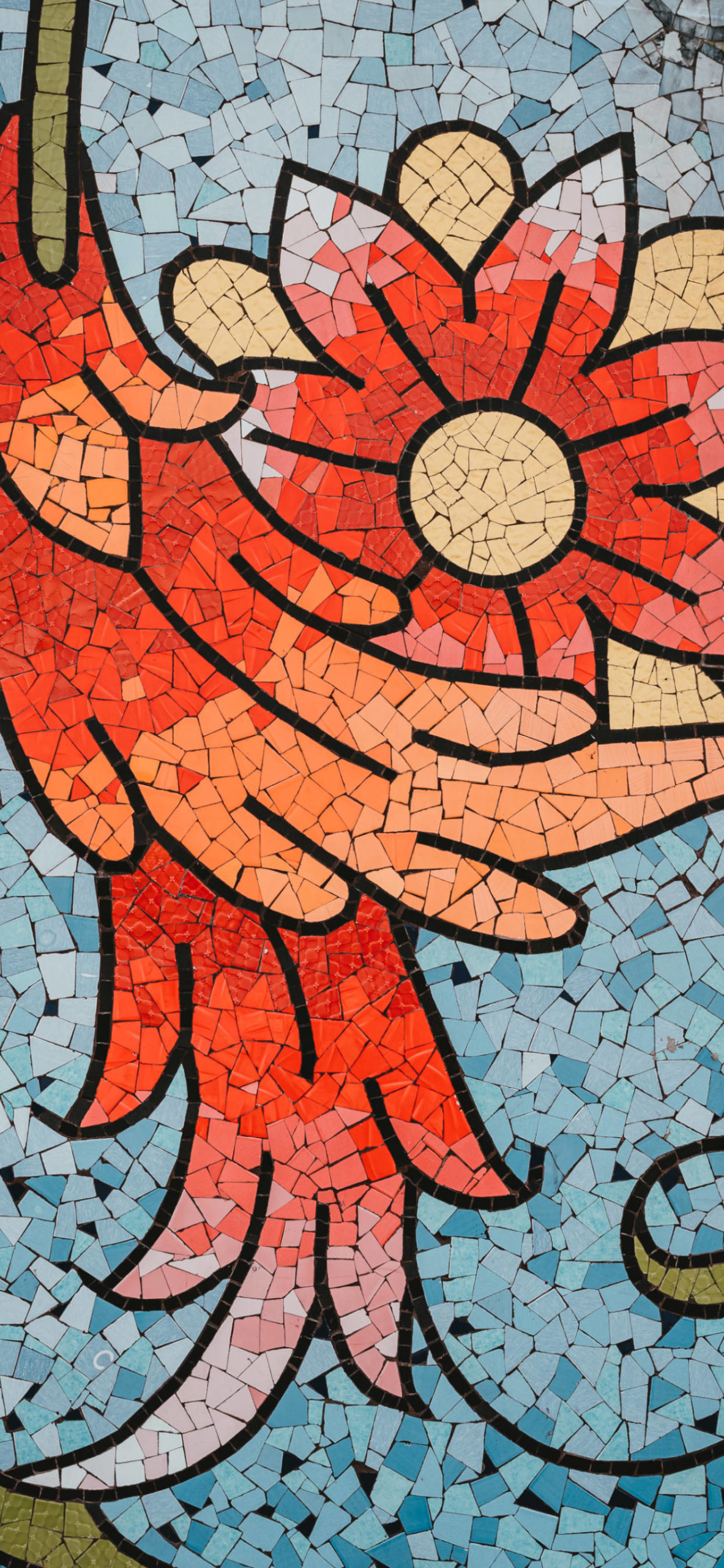 iPhone wallpapers mosaic flower red blue scaled Mosaic