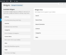 Widgeturile (piesele) implicit instalate pe WordPress