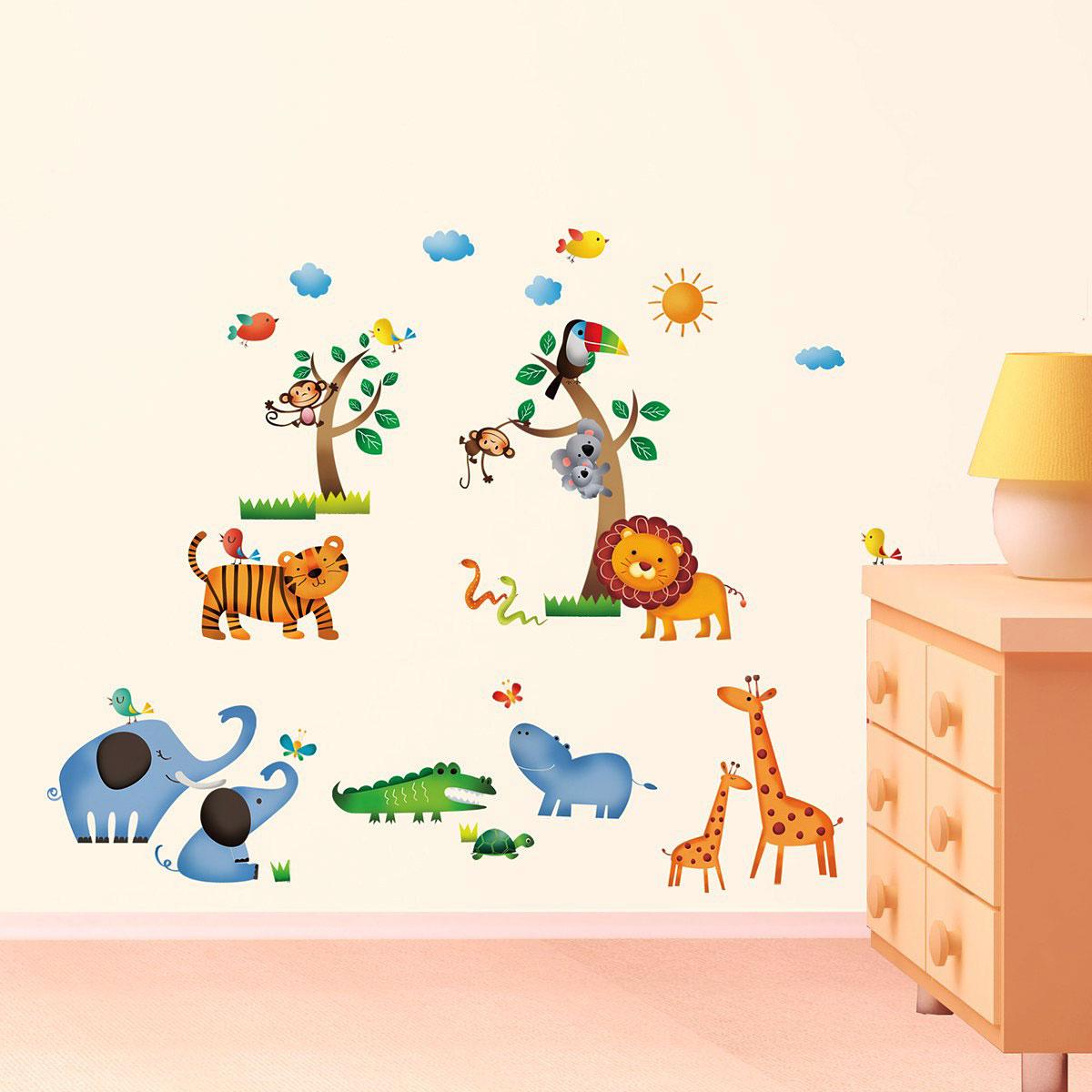 Wandsticker Dschungeltiere Safari Wandsticker Kinderzimmer