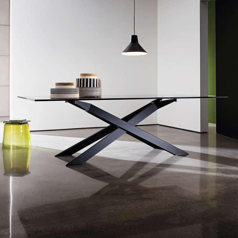 Table De Salle Manger Design En Verre Et Mtal Cross