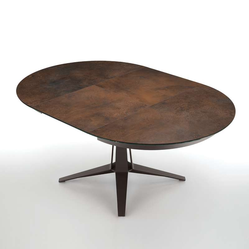 table design ronde avec allonges en ceramique rouille pied central en metal marron fonce link