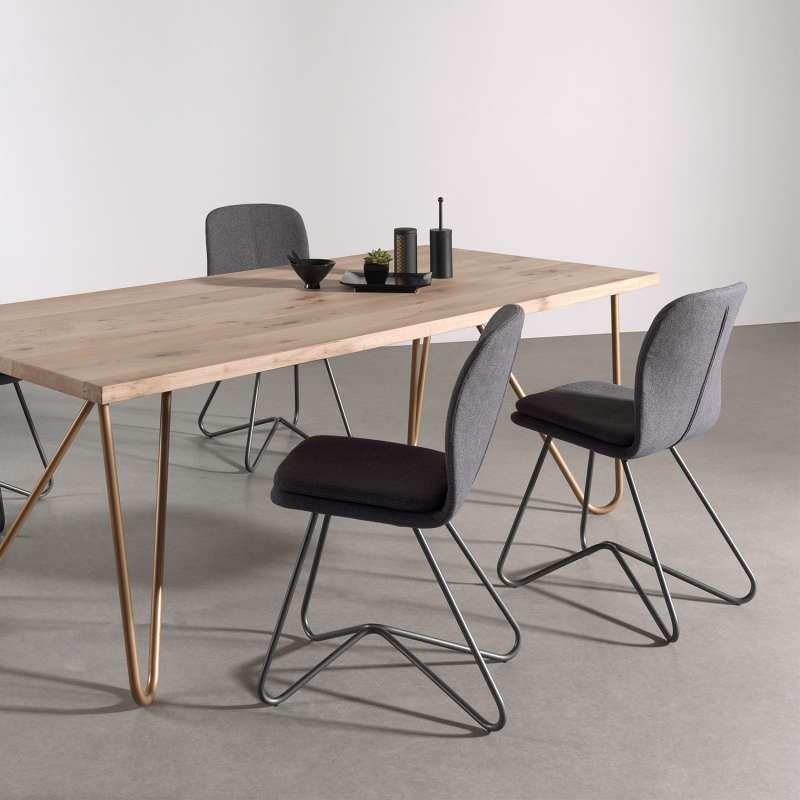 chaise design de salle a manger en tissu gris anthracite et metal hamon 1