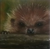 Hedgehog by Helen Norfolk, Oil on Canvas 20cm x 20cm