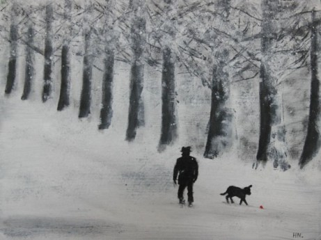 Dog in the Snow by Helen Norfolk, Acrylic on Paper - SOLD