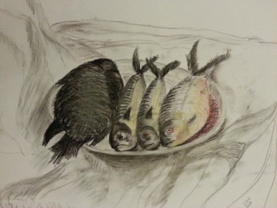 Fishy Still Life by Sibel Roller-Walach, Charcoal and Pastels 2013