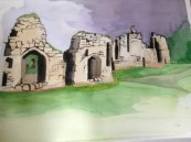Grace Dieu Priory by Val Cloake, Watercolour on paper