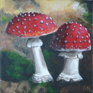 Mushrooms by Helen Norfolk, Acrylic on Canvas, 20cm x 20cm – SOLD