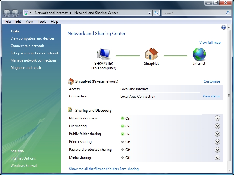 Vista's Network and Sharing wizard identifies your network.